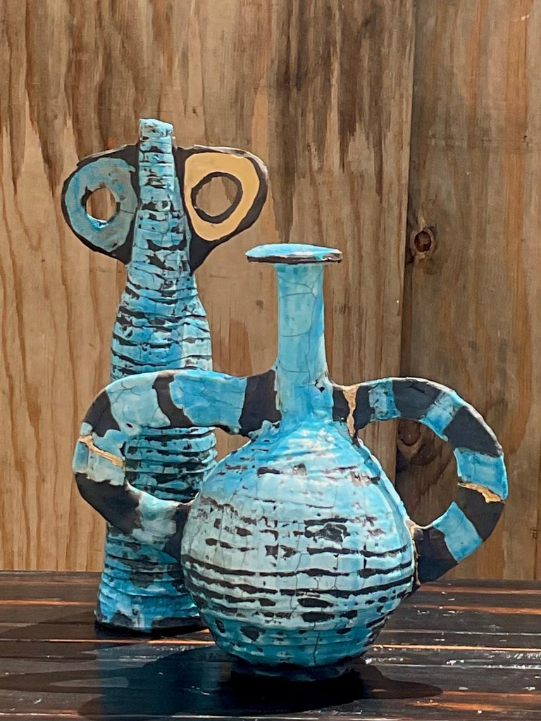 Contemporary Abstract Absurdism Raku Fired Pottery Signed Heck For Sale 1