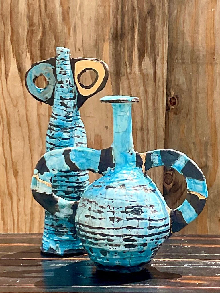 Contemporary Abstract Absurdism Raku Fired Pottery Signed Heck For Sale 2