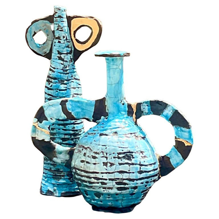 Contemporary Abstract Absurdism Raku Fired Pottery Signed Heck For Sale
