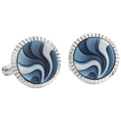 Sterling Silver Contemporary Design Agate Carving Gemstone Cufflinks