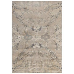 """Contemporary Abstract Area Rug in Beige Gray, Handmade of Silk, Wool, """"Arte"""""""