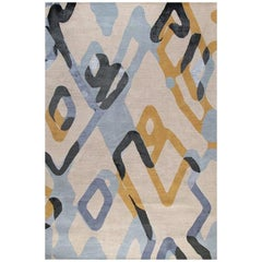 """Contemporary Abstract Area Rug in Blue and Yellow, Handmade of Wool Silk, """"Loop"""""""