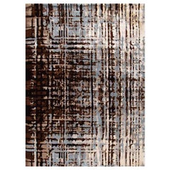 """Contemporary Abstract Area Rug in Blue Brown, Handmade of Silk, Wool, """"Sparse"""""""