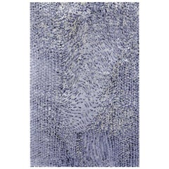 """Contemporary Abstract Area Rug in Blues, Handmade of Silk, Wool, """"Serpent"""""""