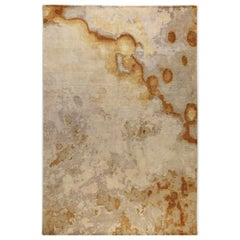 """Contemporary Abstract Rug in Golds Taupe, Handmade of Silk / Wool, 200K """"Bronze"""""""