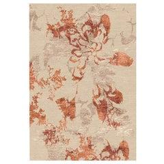 "Contemporary Abstract Area Rug Taupe Orange, Handmade Silk Wool, ""Shadow Rust"""