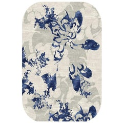 "Contemporary Abstract Area Rug, White and Blue, Handmade of Silk Wool, ""Shadow"""