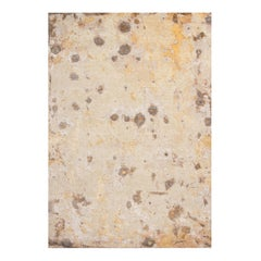 Contemporary Abstract Cream, Gold and Grey Wool and Silk Rug