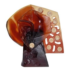 "Glass Sculpture Abstract Cubist ""Cresus"", by Mariza Jonath for Daum, in stock"