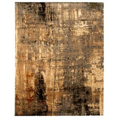 Contemporary Abstract 'Digital Age' Caramel, Brown and Black, Wool and Silk Rug