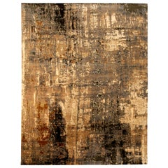 Contemporary Abstract 'Digital Age' Handmade Wool and Silk Rug