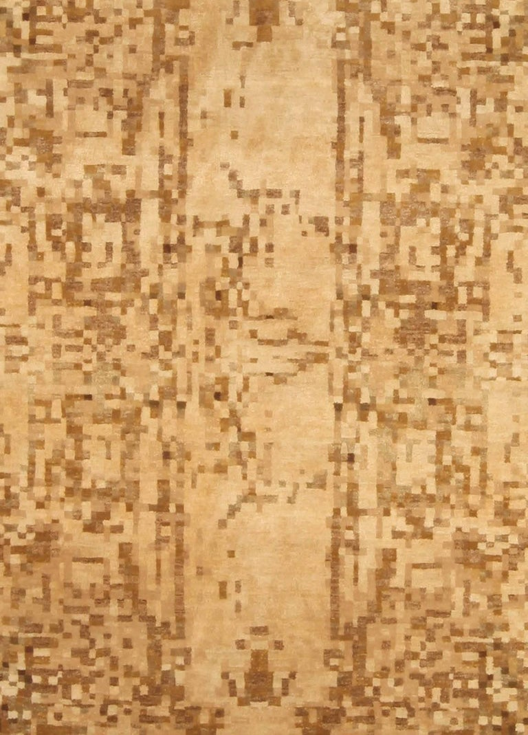 Contemporary abstract element gold beige rug