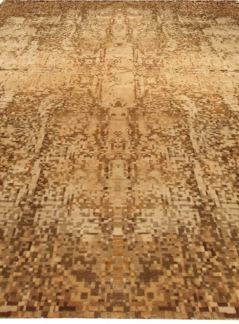 Wool Contemporary Abstract Element Gold Beige Rug For Sale