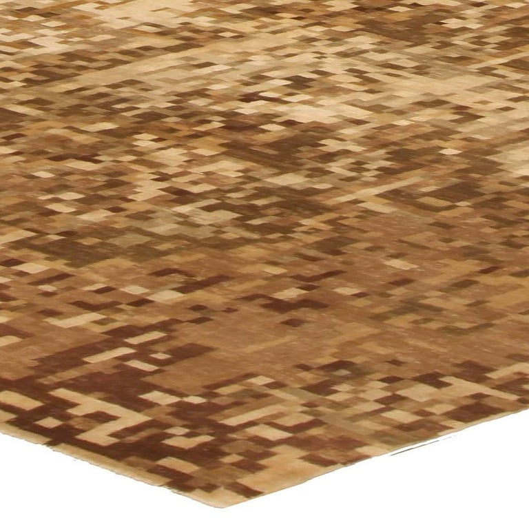 Contemporary Abstract Element Gold Beige Rug For Sale 1