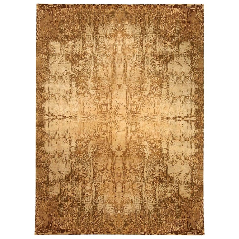 Contemporary Abstract Element Gold Beige Rug For Sale