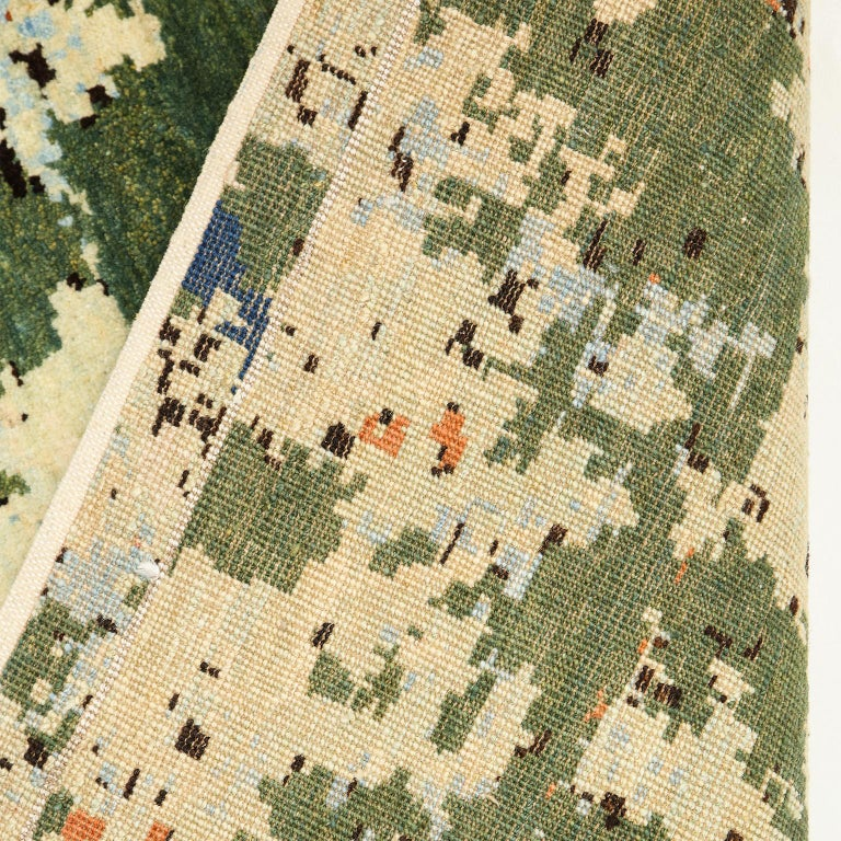 Contemporary Abstract Green and Blue Wool Area Rug by Orley Shabahang For Sale 5