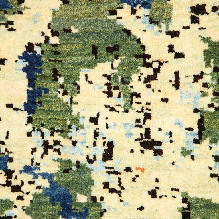 Persian Contemporary Abstract Green and Blue Wool Area Rug by Orley Shabahang For Sale