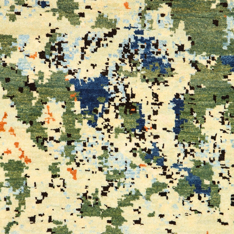 Contemporary Abstract Green and Blue Wool Area Rug by Orley Shabahang For Sale 1