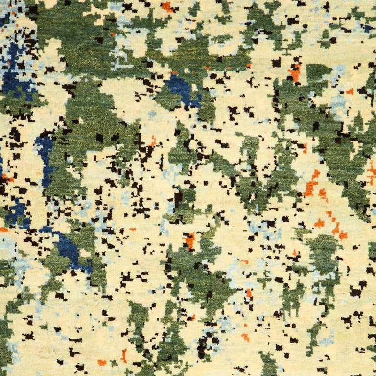 Contemporary Abstract Green and Blue Wool Area Rug by Orley Shabahang For Sale 3