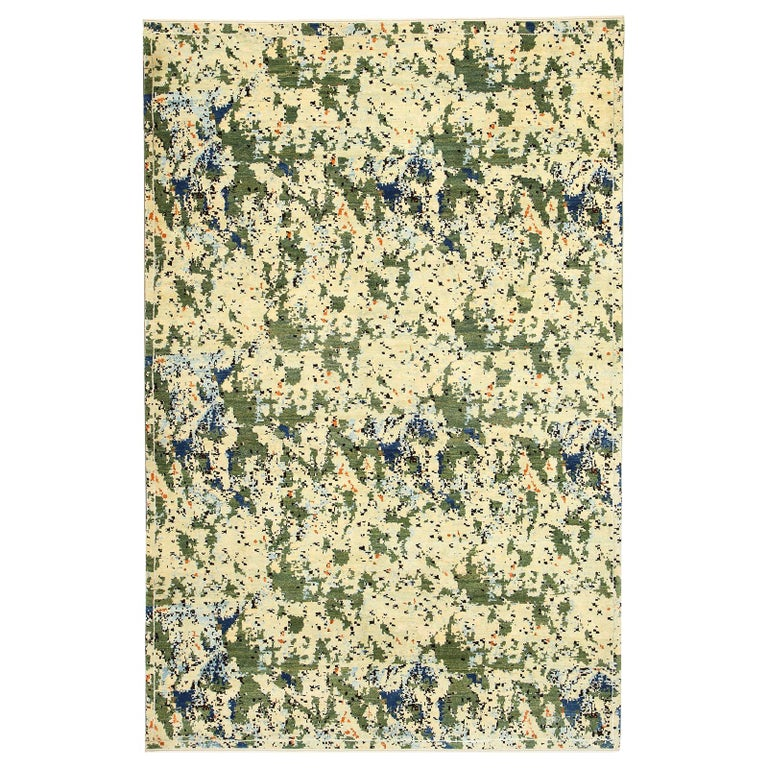Contemporary Abstract Green and Blue Wool Area Rug by Orley Shabahang For Sale