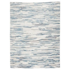 Contemporary Abstract Handmade Blue and Gray Silk and Wool Rug