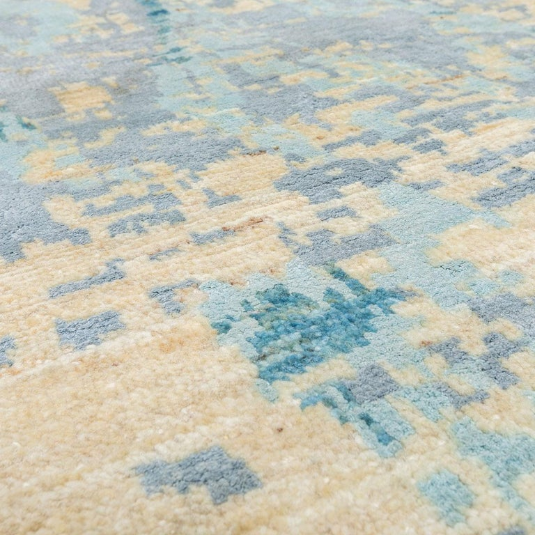 Contemporary Abstract Handmade Blue Silk and Wool Rug For Sale 8