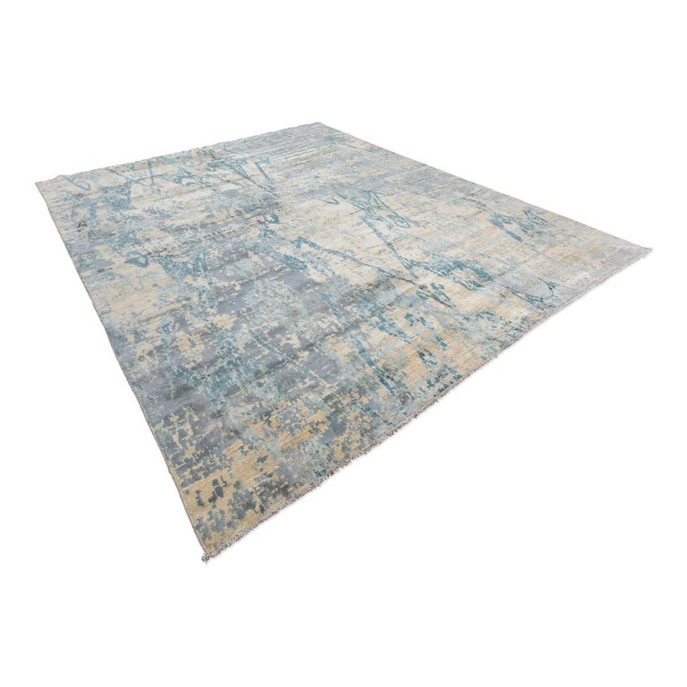 Modern Contemporary Abstract Handmade Blue Silk and Wool Rug For Sale