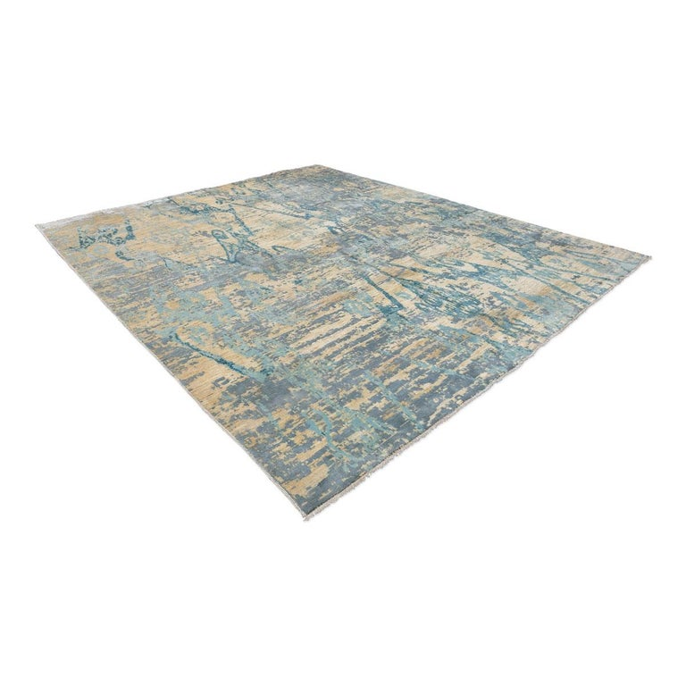 Pakistani Contemporary Abstract Handmade Blue Silk and Wool Rug For Sale