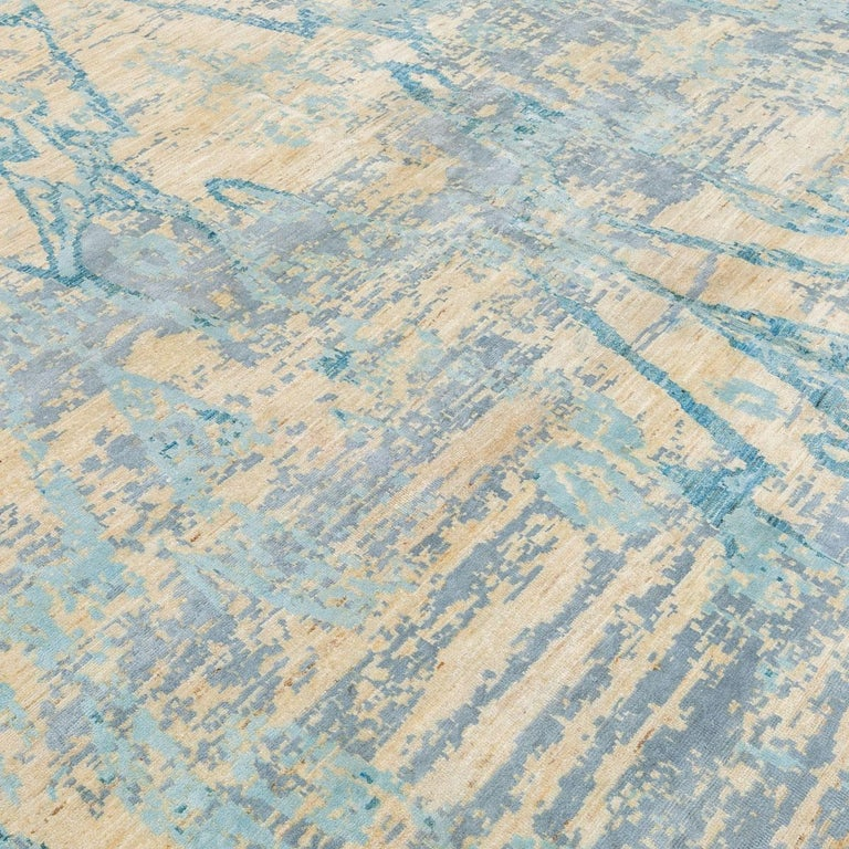 Contemporary Abstract Handmade Blue Silk and Wool Rug For Sale 1