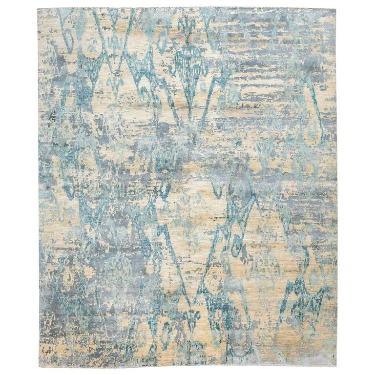 Contemporary Abstract Handmade Blue Silk and Wool Rug For Sale