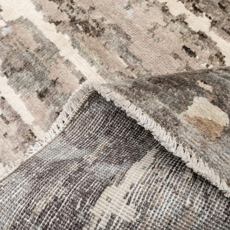 Contemporary Abstract Handmade Brown and Grey Colors Silk and Wool Rug For Sale 9