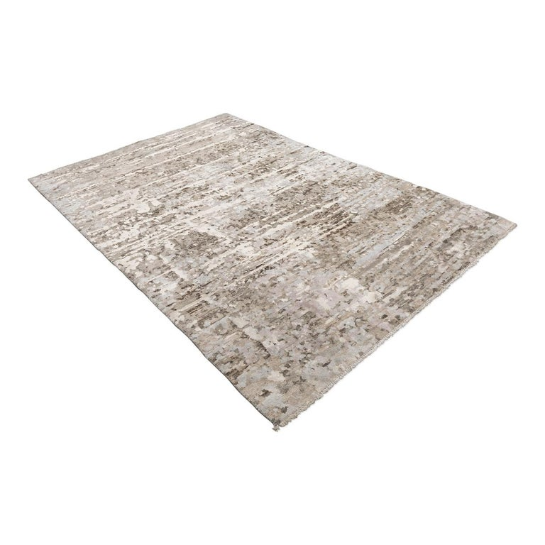Modern Contemporary Abstract Handmade Brown and Grey Colors Silk and Wool Rug For Sale