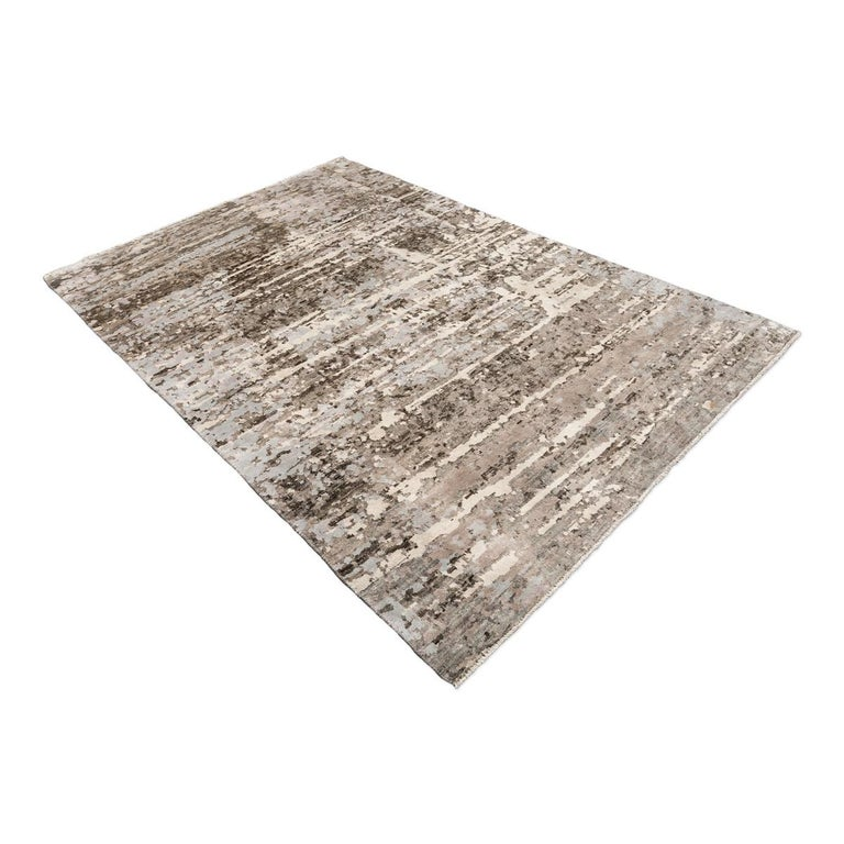 Pakistani Contemporary Abstract Handmade Brown and Grey Colors Silk and Wool Rug For Sale