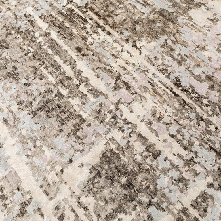 Contemporary Abstract Handmade Brown and Grey Colors Silk and Wool Rug For Sale 2