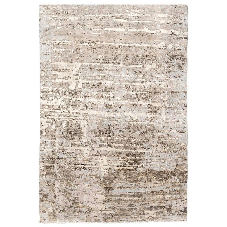 Contemporary Abstract Handmade Brown and Grey Colors Silk and Wool Rug For Sale
