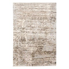 Contemporary Abstract Handmade Brown and Grey Colors Silk and Wool Rug