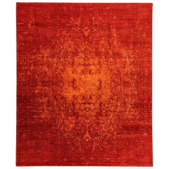 Contemporary Abstract Handmade Red Silk and Wool Rug