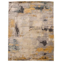 Contemporary Abstract Handmade Silk and Wool Rug