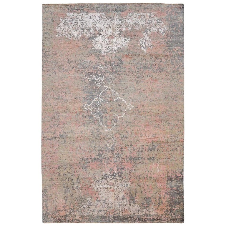 Contemporary Abstract Handmade Silk and Wool Rug For Sale