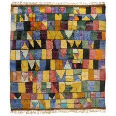 Contemporary Bauhaus Moroccan Rug, Cubism and Post-Modern Style after Paul Klee