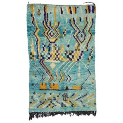 Contemporary Abstract Moroccan Rug with Post-Modern Memphis-Bauhaus Style