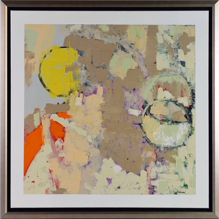 'Mumbassa Moons' by Sinai Mordecai Waxman, American, 20th century Acrylic on canvas, 30 x 30 in. without frame, 33 x 33 including frame Signed lower right corner Housed in a modern silver finish floater frame.  Sinai Mordecai Waxman: Waxman
