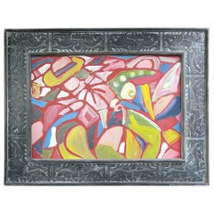 Contemporary Abstract Painting by Miklos Nemeth in Carved Wood Frame, 1960's