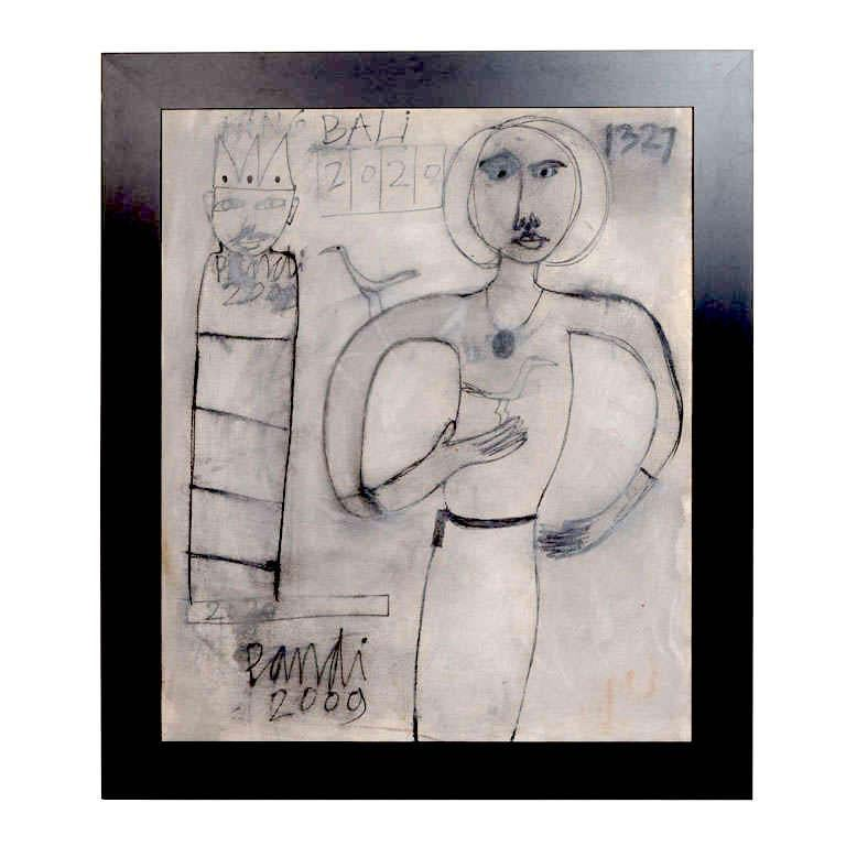 Contemporary Abstract Painting 'King Bali', Oil on Canvas For Sale