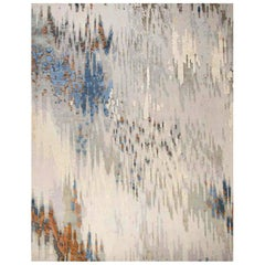 """Contemporary Abstract Rug in Blues Brown Grey, Handmade of Silk and Wool """"Bryce"""""""