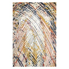 "Contemporary Abstract Rug Multicolored Colorful, Handmade Silk, Wool ""Journey"""