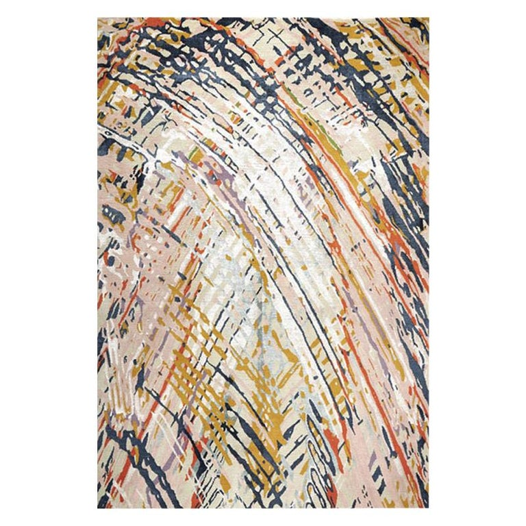 """Contemporary Abstract Rug Multicolored Colorful, Handmade Silk, Wool """"Journey"""" For Sale"""