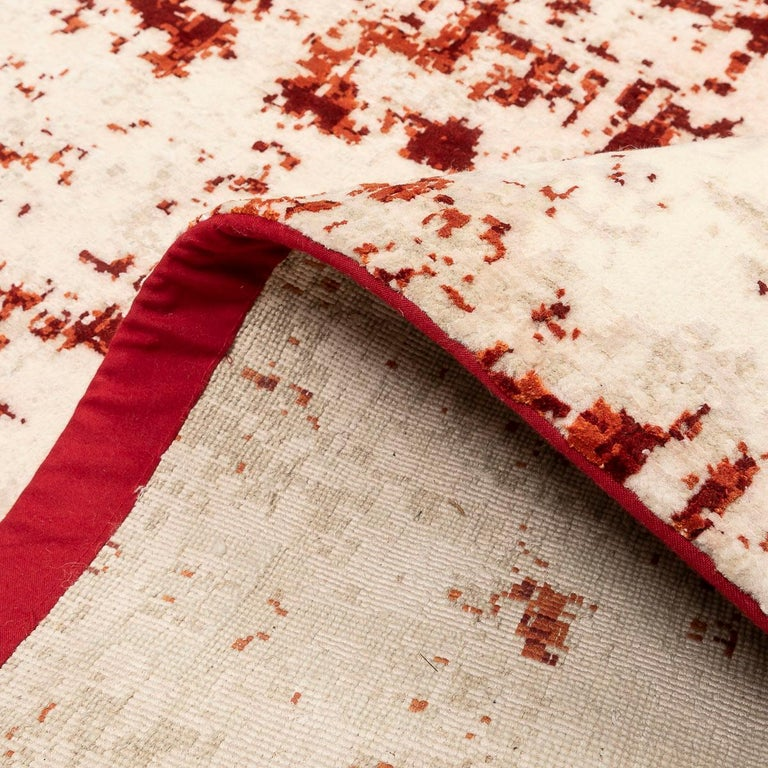 Contemporary Abstract Rug on Red and White Colors For Sale 9