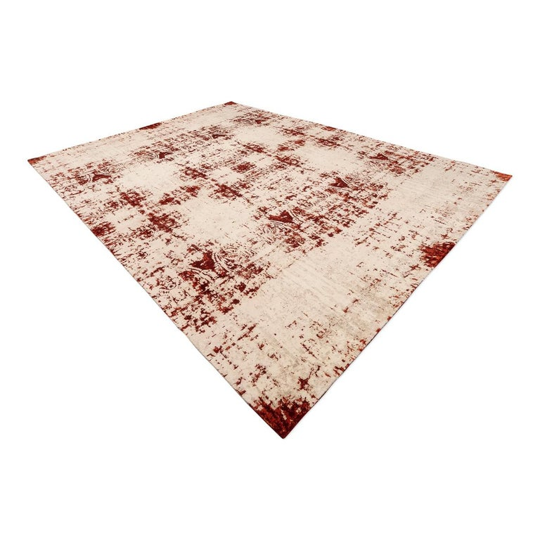 Modern Contemporary Abstract Rug on Red and White Colors For Sale