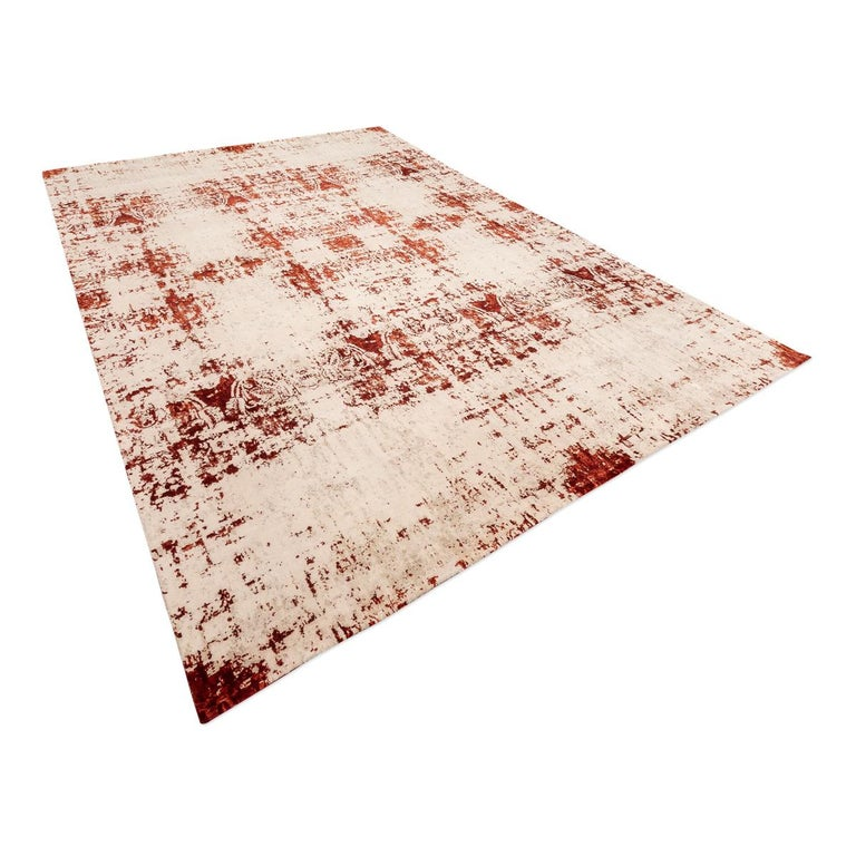 Indian Contemporary Abstract Rug on Red and White Colors For Sale